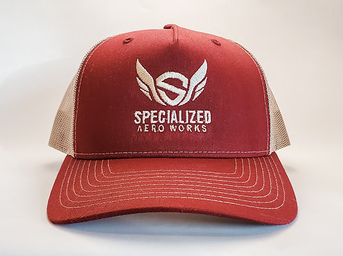 Embroidered Trucker Snapback-- Cardinal/Tan