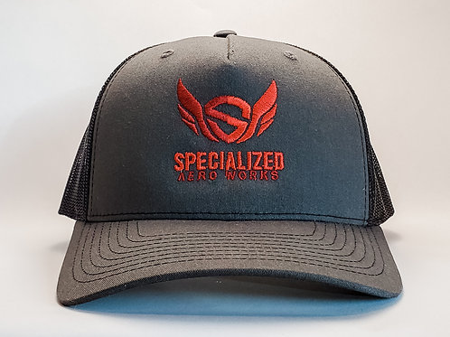 Embroidered Trucker Snapback-- Charcoal/ Black