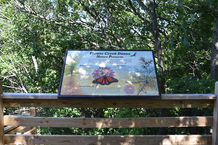 Flower Creek Dunes interpretive sign