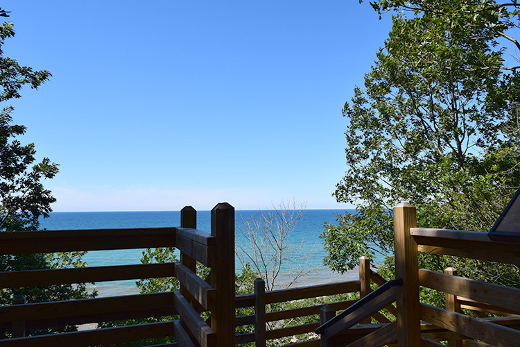 view over Lake Michigan from upper deck