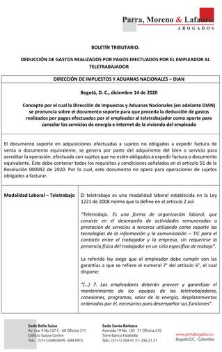 BOLETÍN TRIBUTARIO - DEDUCCIÓN DE GASTOS REALIZADOS POR PAGOS EFECTUADOS POR EL EMPLEADOR AL TELETRA