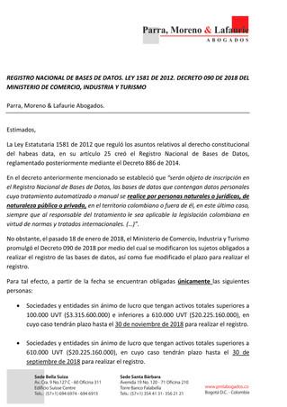 REGISTRO NACIONAL DE BASES DE DATOS. LEY 1581 DE 2012. DECRETO 090 DE 2018 DEL MINISTERIO DE COMERCI