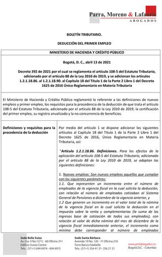 Boletín Tributario - DEDUCCIÓN DEL PRIMER EMPLEO