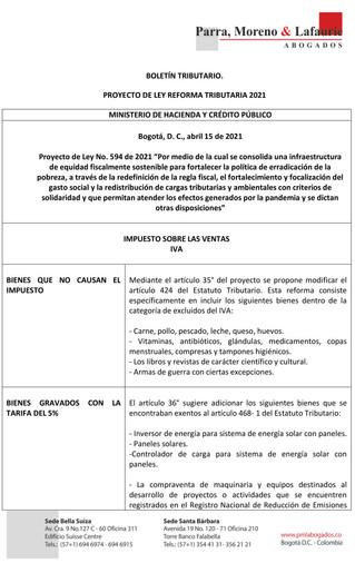 Boletín Tributario - PROYECTO DE REFORMA TRIBUTARIA - IVA