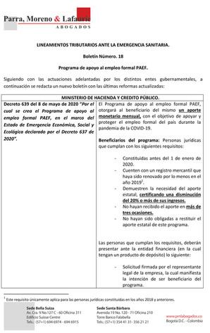 Boletín Tributario #18 - Programa de apoyo al empleo formal PAEF