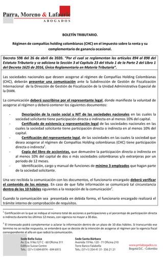 Boletín Tributario - Reglamentación del régimen de Compañías Holding Colombianas - CHC-1
