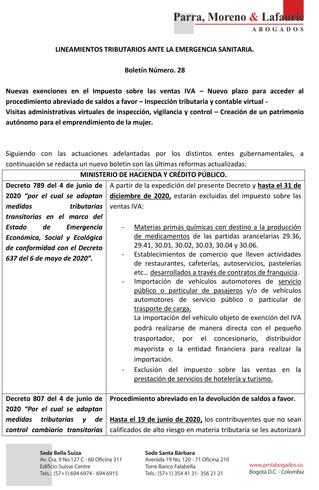 Lineamientos tributarios ante la emergencia sanitaria - Boletín 28