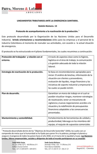 Boletín Tributario #13 - Protocolo de acompañamiento a la reactivación de la producción - ONU