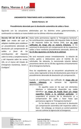 Boletín Tributario #10- Emergencia sanitaria COVID-19 - DIAN - Devolución abreviada de saldos a favo
