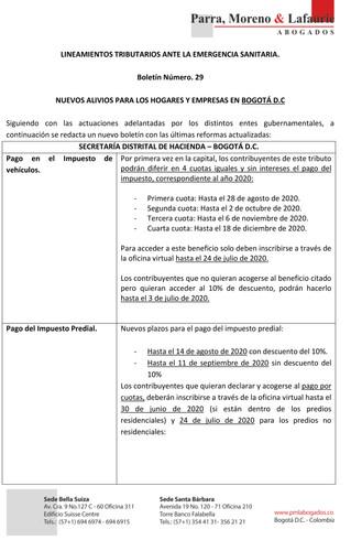 Lineamientos tributarios ante la emergencia sanitaria - Boletín 29