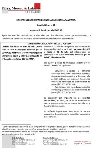 Boletín Tributario #12 - Impuesto Solidario por el COVID 19-1