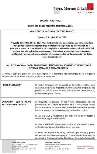 Boletín Tributario - PROYECTO DE REFORMA TRIBUTARIA - IMPUESTO SOBRE LA RENTA Y COMPLEMENTARIOS