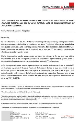 Registro Nacional de Bases de datos, Ley 1581 de 2012, decreto 886 de 2014 y Circular externa No. 00