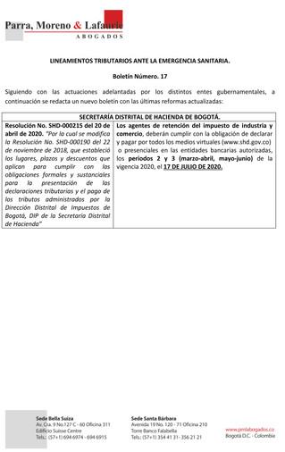 Boletín Tributario #17 - Secretaría Distrital de Hacienda - Cambio en calendario tributario