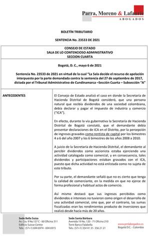 Boletín Tributario - SENTENCIA 23533 DE 2021 - Impuesto de Industria y Comercio - Dividendos