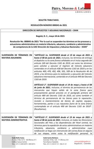 Boletín Tributario - RESOLUCION NUMERO 000043 DE 2021 - SUSPENSION DE TERMINOS