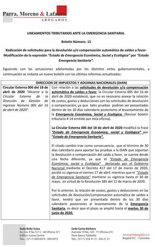 Boletín Tributario #15 - Procedimiento abreviado de solicitudes de saldos a favor - Modificaciones a