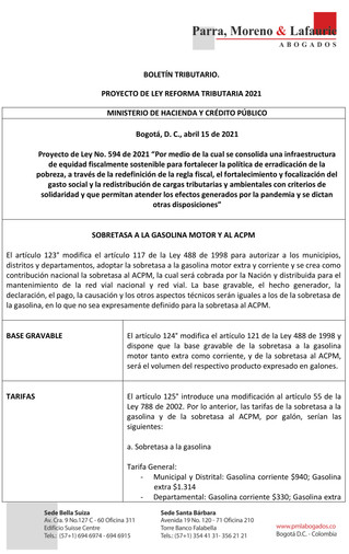 Boletín Tributario - PROYECTO DE REFORMA TRIBUTARIA - SOBRETASA A LA GASOLINA MOTOR Y AL ACPM