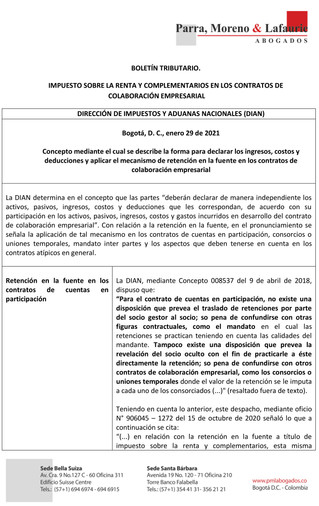 BOLETÍN TRIBUTARIO - IMPUESTO SOBRE LA RENTA Y COMPLEMENTARIOS EN LOS CONTRATOS DE COLABORACIÓN EMPR