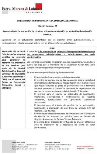 Lineamientos tributarios ante la emergencia sanitaria - Boletín 27