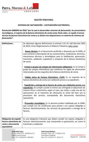 Boletín Resolución 042 - Facturación Electrónica