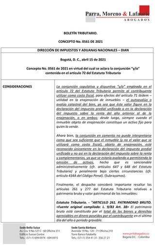 Boletín Tributario - CONCEPTO 0561 DE 2021 DIAN - AVALUO COMO COSTO FISCAL