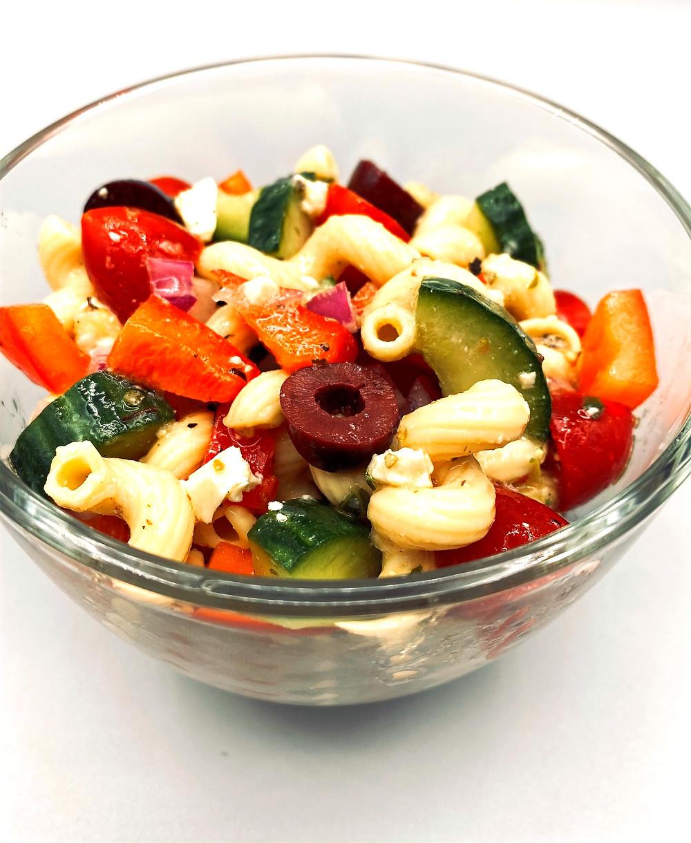 Mediterranean Pasta Salad recipe and photo by prettyhealthyplate.com