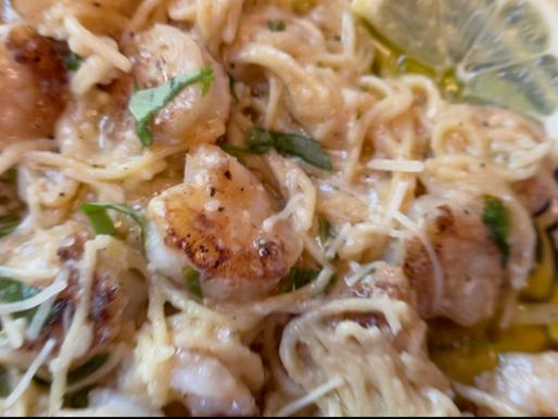 Lemon Shrimp Chickpea Spaghetti