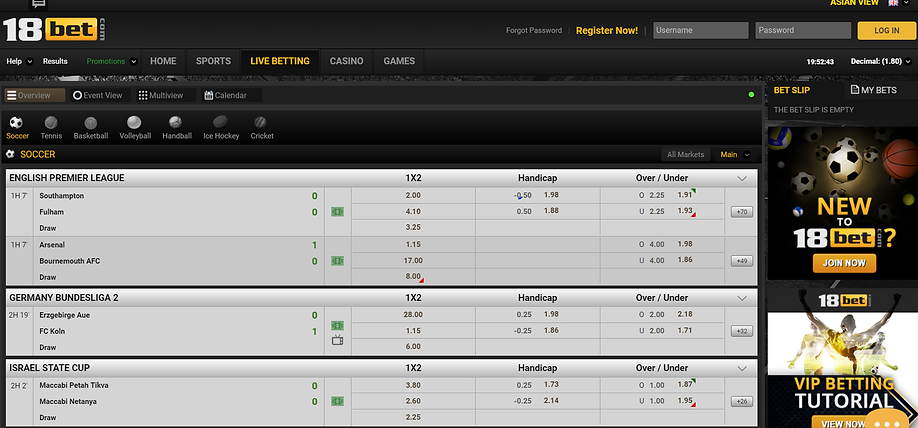 18bet sport betting page