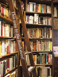 Bookstore entrance.  Image of booksheves with a ladder.
