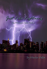 A stormy sky filled with lightning over the NYC skyline. Cover for the Book Just Like Lightning.  Book 2 of the 5 Boroughs Series