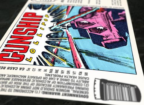 Gunship Lollipop Label