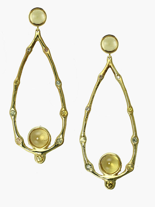 PAIR OF ELONGATED DROP HALO EARRINGS