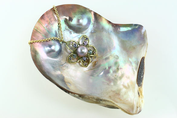 Sea of Cortez Cultured Pearl Flower Pendant on the Half Shell