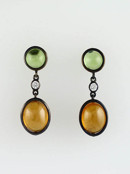 TWO STONE HALO EARRINGS