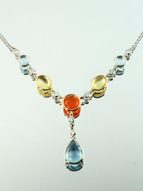 SIX STONE STONE HALO NECKLACE