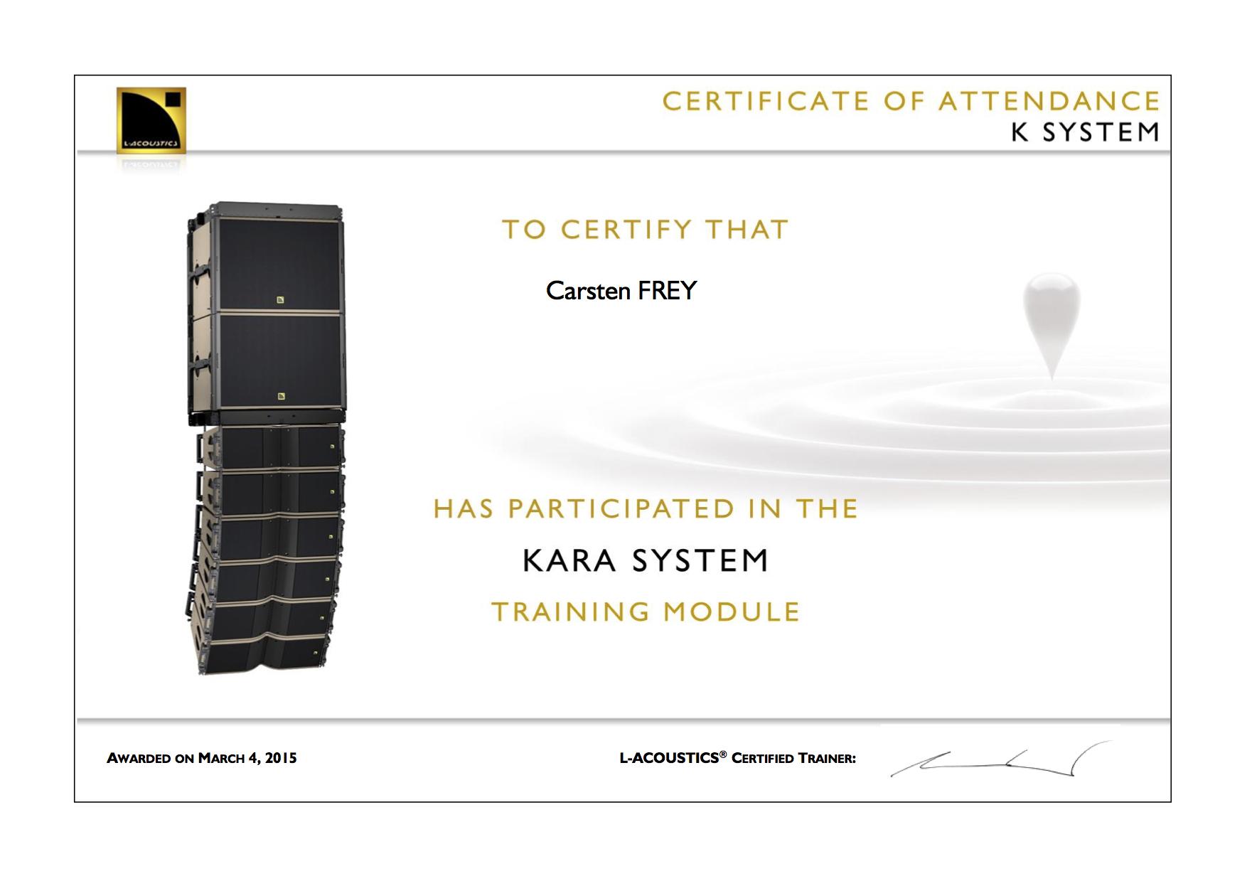 Carsten FREY KARA Training Certificate