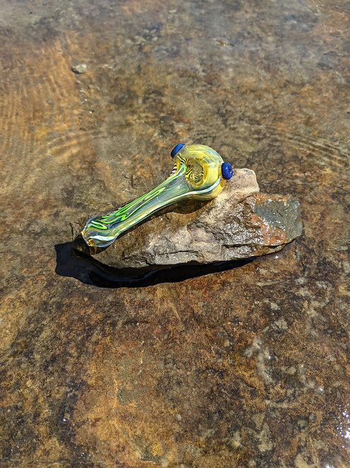 Fumed canework pipe with dark blue accents