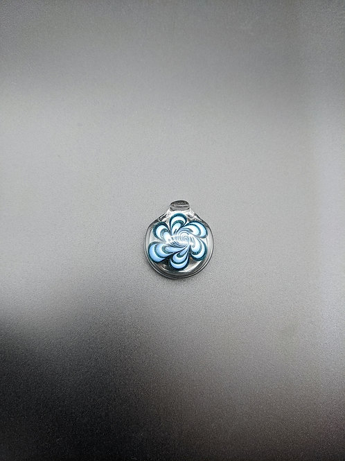 Hollow Blue + White Dot Stack Pendy