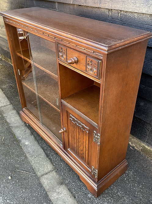 Small Old Charm Glazed Bookcase Display Cabinet With Linenfold Detail
