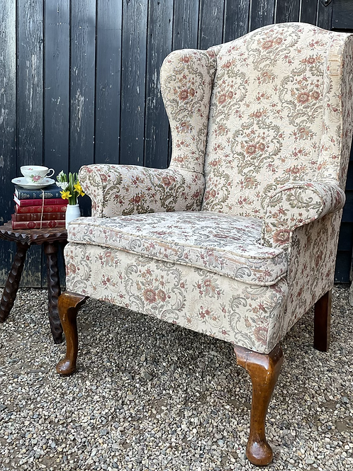 Good Quality Vintage Wing Back Armchair For Reupholstery