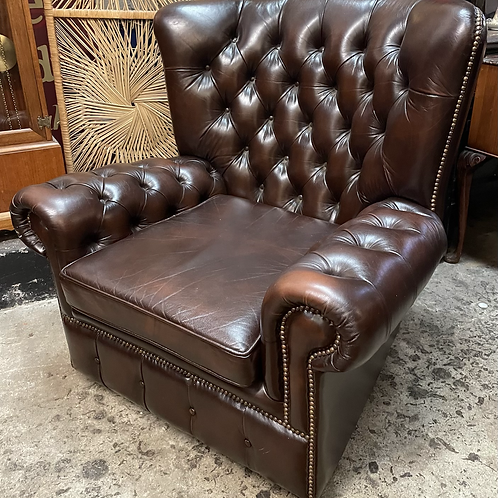 Large Comfortable Brown Leather Button Back Wing Armchair