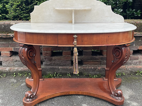 Beautiful Victorian Washstand With Marble Top & Gallery Back