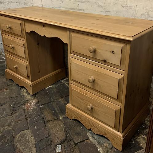 Modern Waxed Pine Knee-hole Desk / Dressing Table