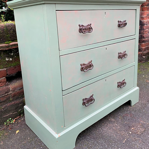 Sage Green Painted Small Edwardian Three Drawer Chest Of Drawers