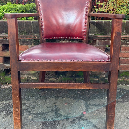 Vintage Oak Office Tub Chair With Oxblood Red Leather Upholstered Seat & Back