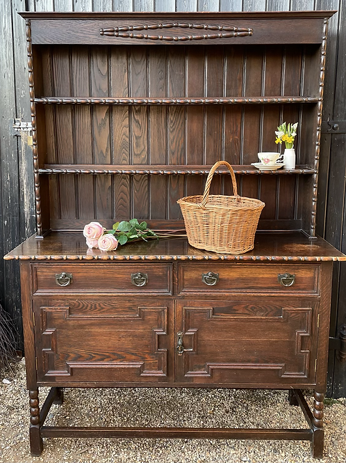 Charming Vintage 1920's Oak Display Dresser