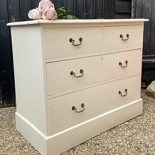 Edwardian Square Fronted Painted Chest Of Drawers