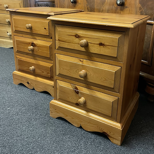 Pair Of Traditional Solid Pine Bedside Cabinets Three Drawers Each