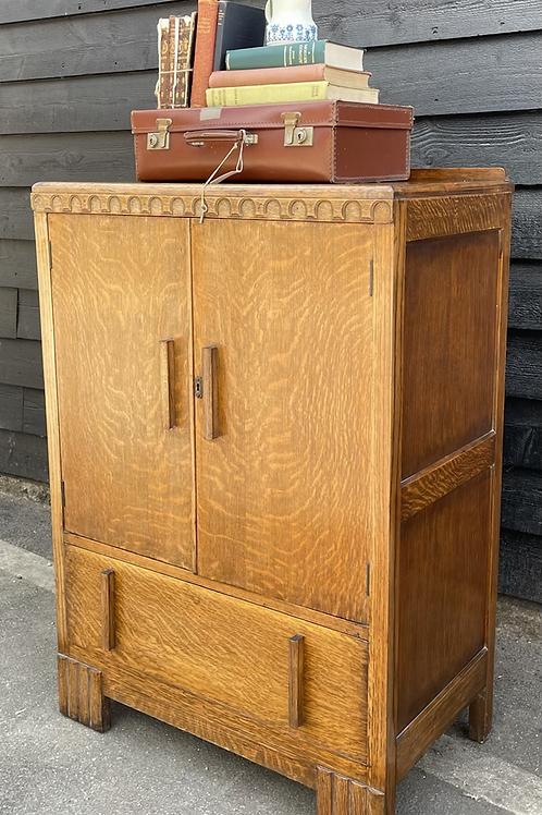 Sweet Vintage Art Deco Style Oak & Veneer Tallboy Cupboard